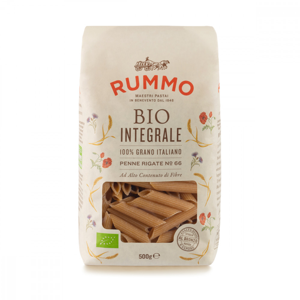 PASTA RUMMO ORGANIC WHOLEMEAL PENNE RIGATE N°66 300GR